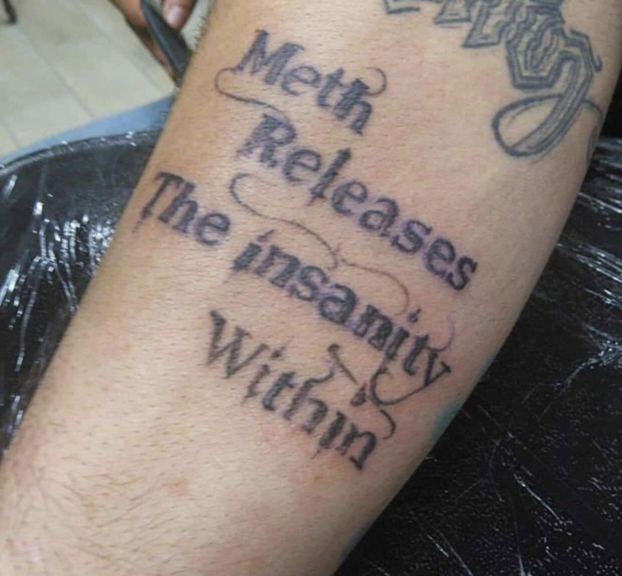 Insane meth tattoo posted by laser removal place : trashy