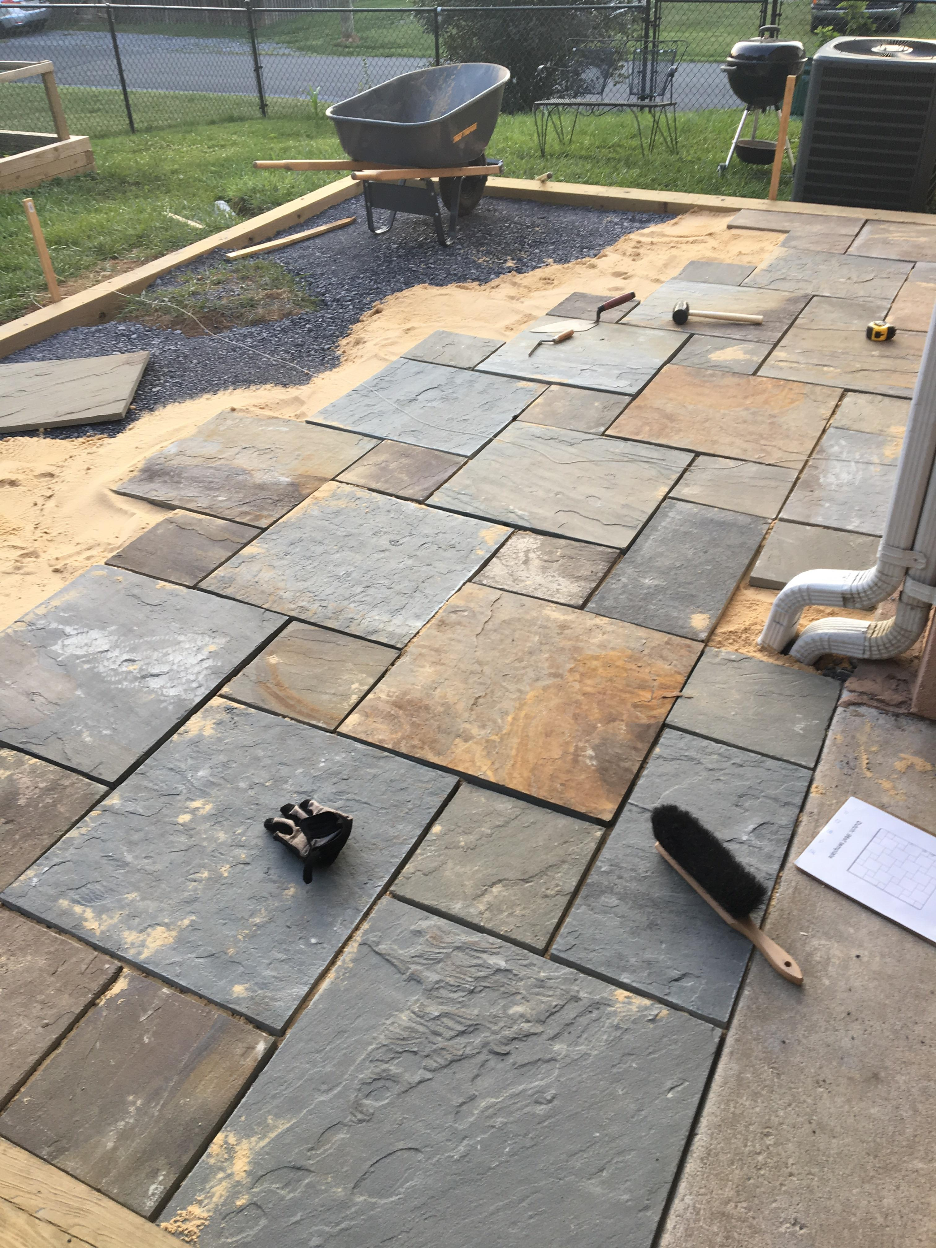 flagstone patio on tamped gravel sand