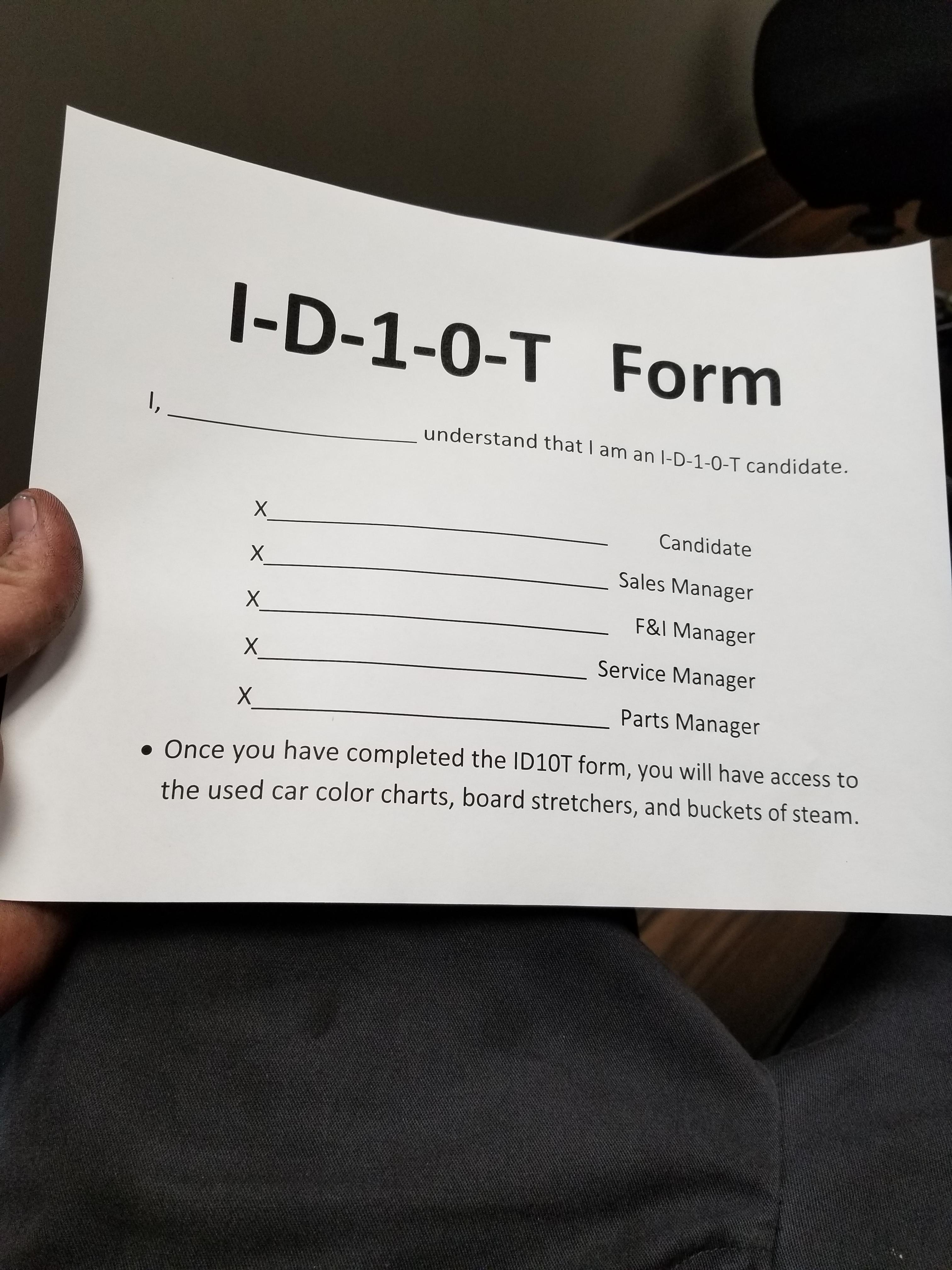 picture regarding Id10t Form Printable identified as Identity10t Short article - Yr of Refreshing H2o