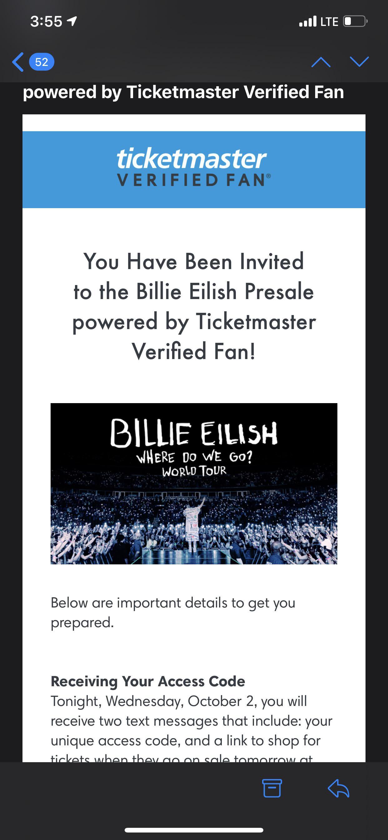 Verified Fan Ticketmaster Billie Eilish : verified, ticketmaster, billie, eilish, Verified, Emails, Out!!!!, Billieeilish
