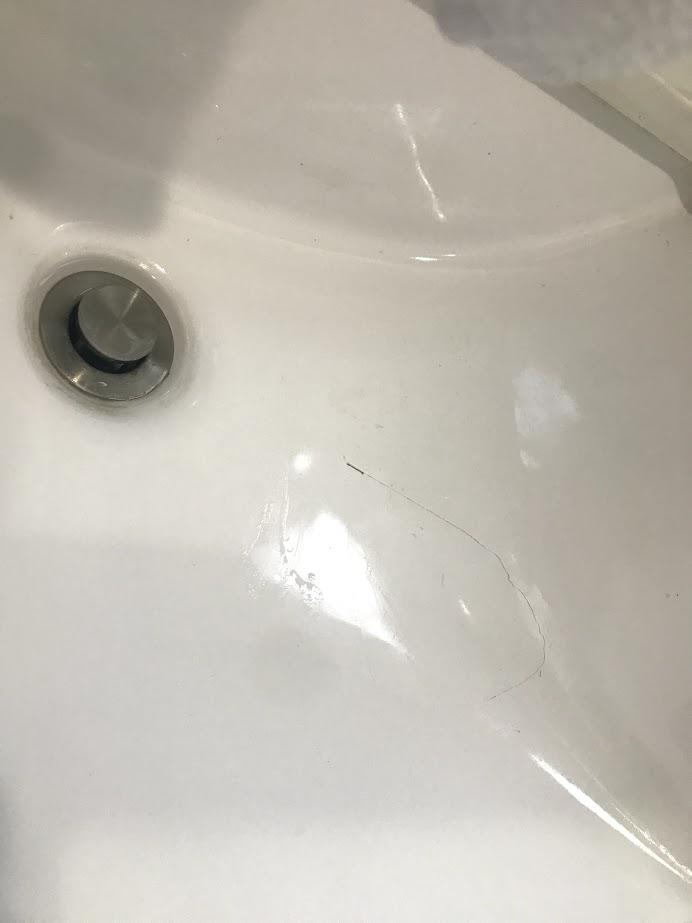 my bathroom sink and cracked