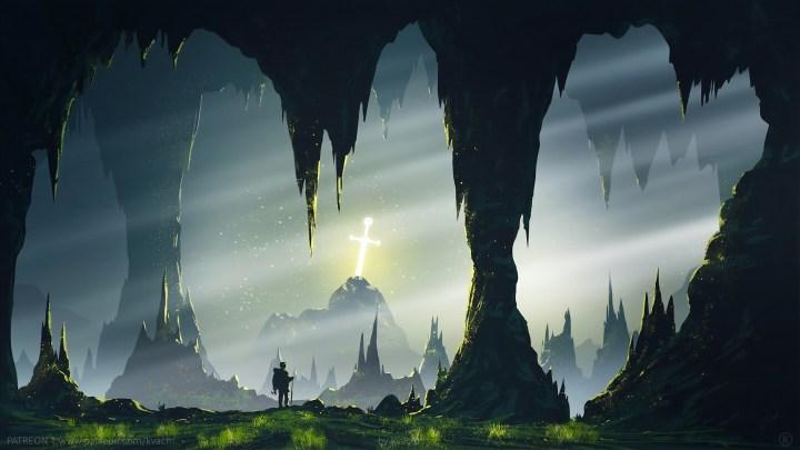 Excalibur sword in underground cave [2560 x 1440]
