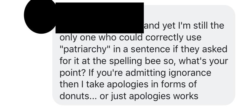 On a fb post about feminism, this adult male comes out of