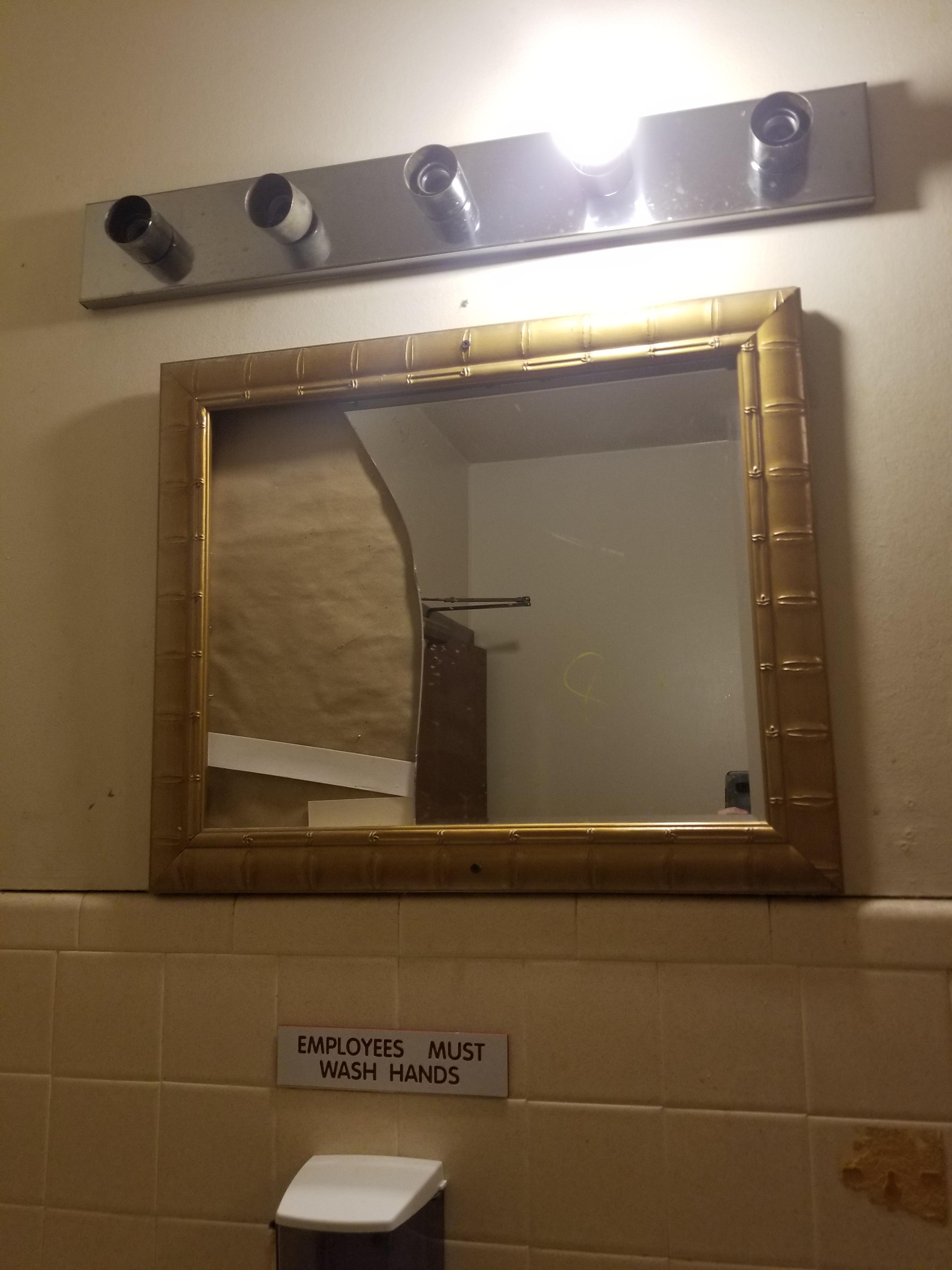 This Broken Mirror In This Bathroom Mildlyinfuriating