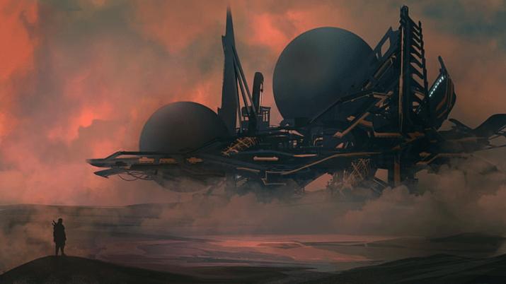 [1920×1080] black and blue spaceship