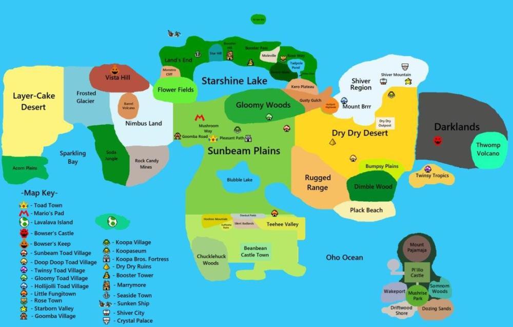 medium resolution of a mushroom kingdom map based off of every mario rpg and nsmbu