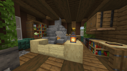 My Living room design for a medieval house in my town Really like how this turned out : Minecraft