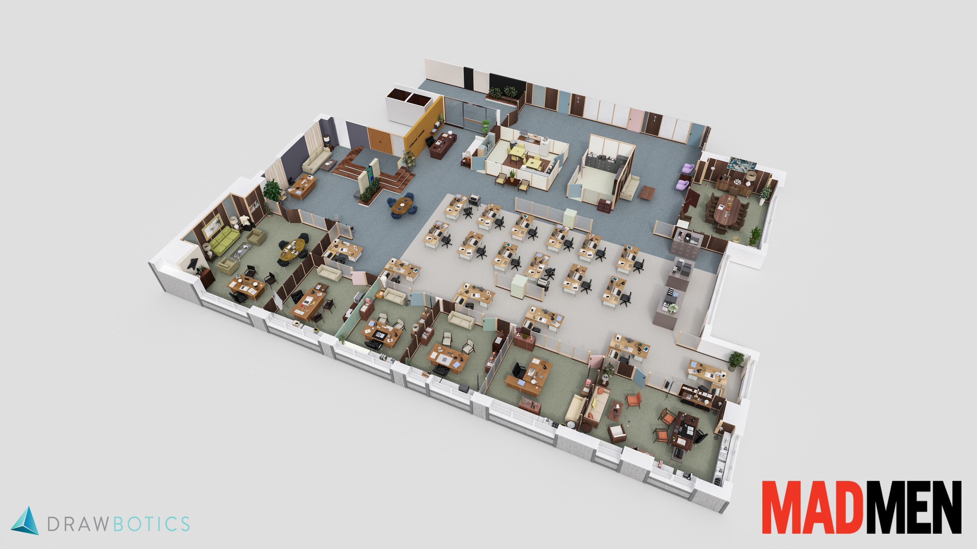 The 3D floor plan of Sterling Cooper  What the office of