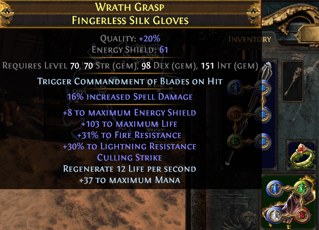 I obtained balls and slammed Culling Strike on these gloves. one of the luckiest crafts of my life : pathofexile