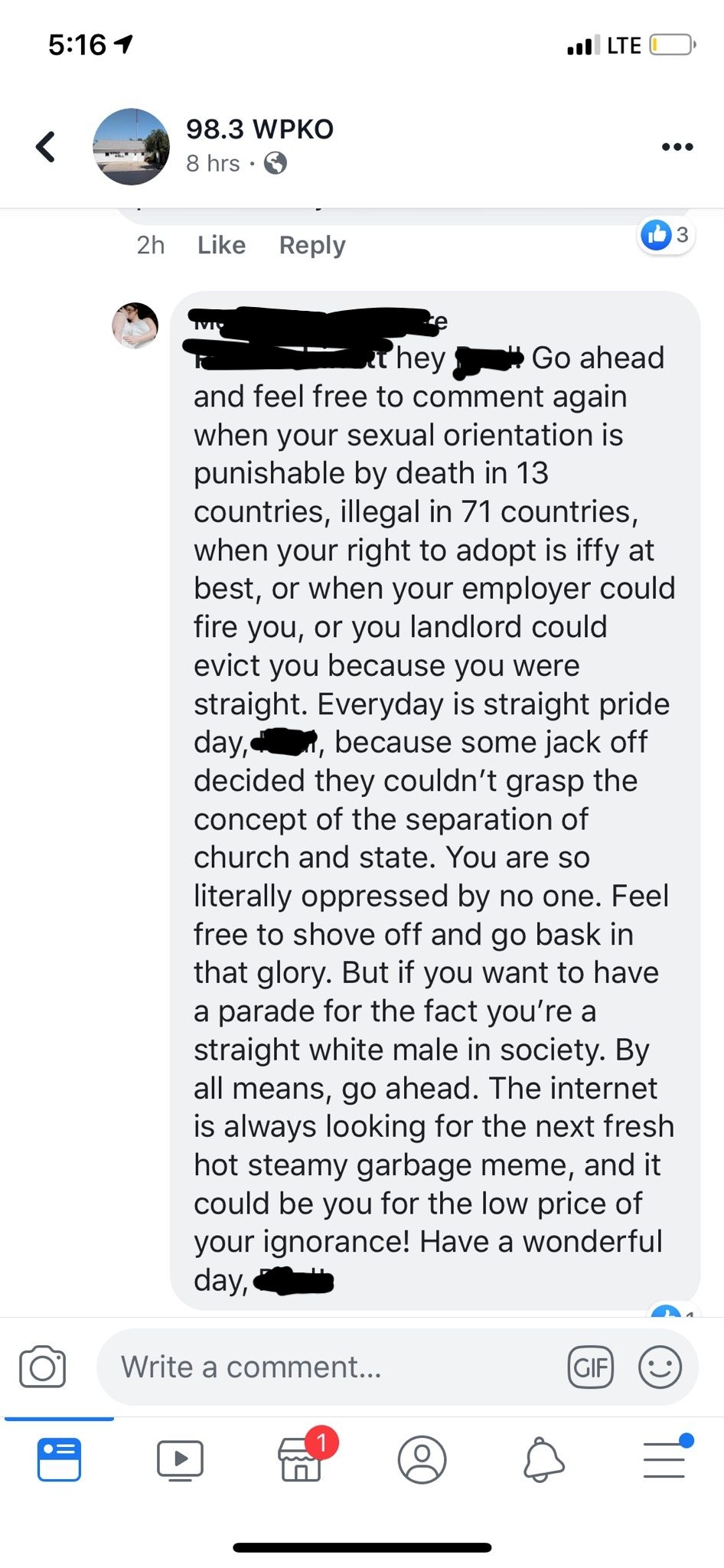 Response to complaints about a pride parade a local
