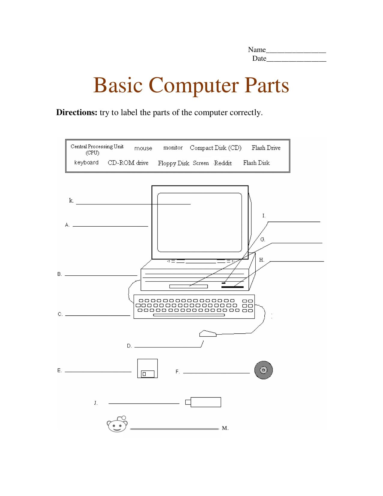 Computer Parts Worksheet Versatile 2 0 Worth Your Time