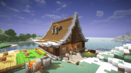 Built a starter house Spent way too long on this : Minecraft