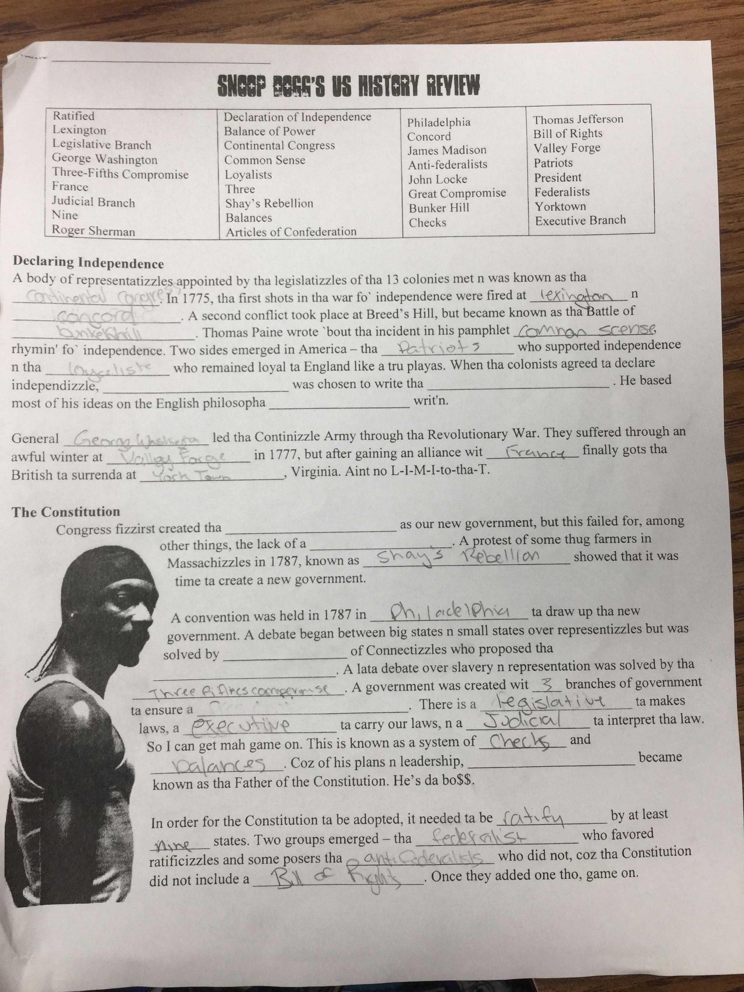 Snoop Dogg World History Review Worksheet Answers