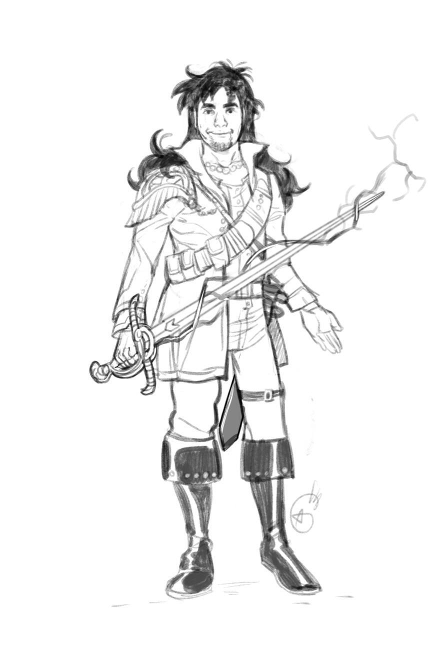 Lars Alannes, Half Elf Pirate. Future king to be