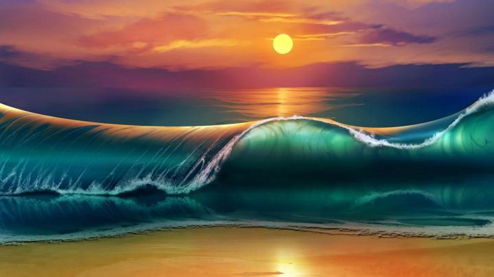 Aura sea wave with sunset Desktop wallpaper [1920×1080]