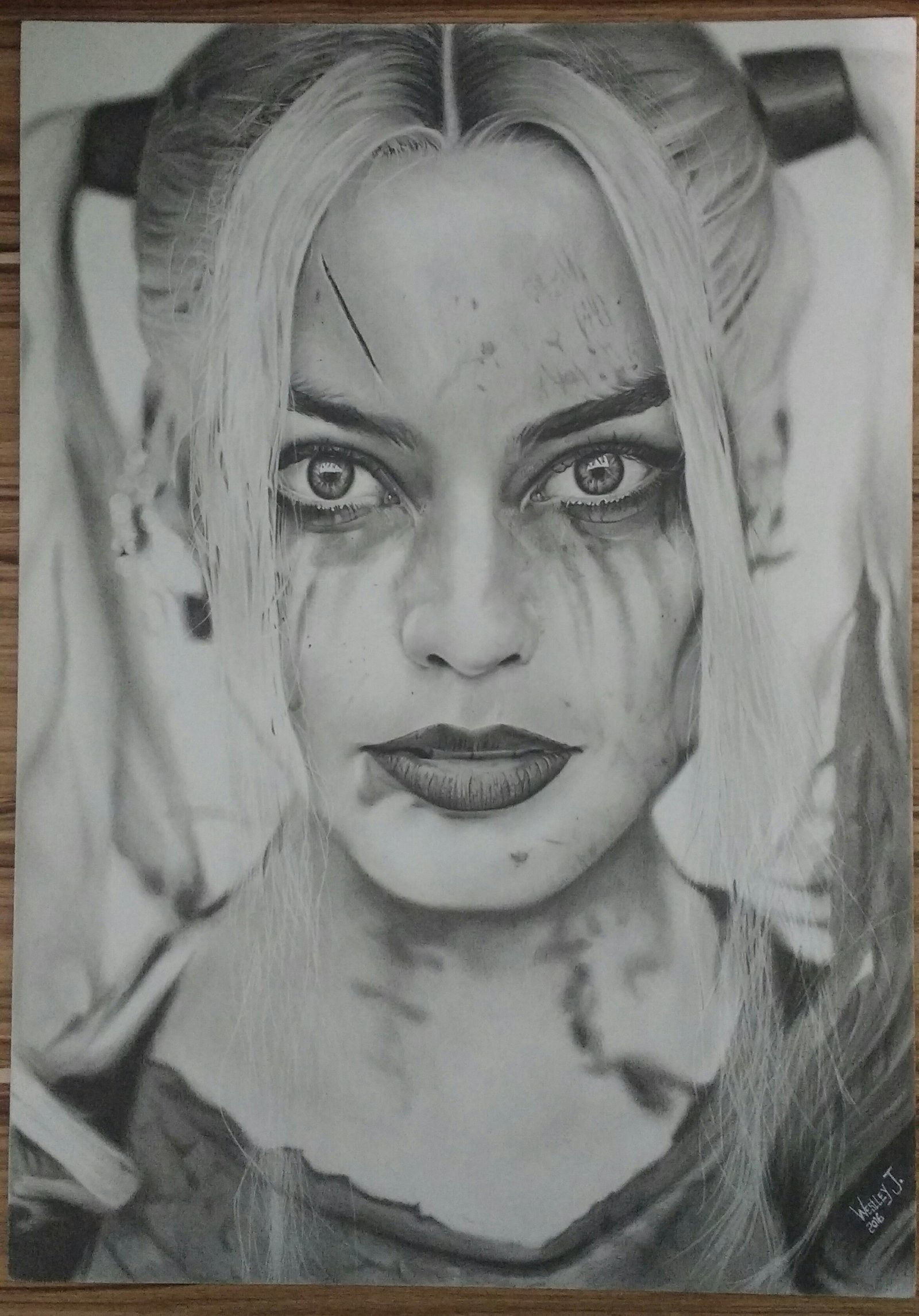 Harley Quinn Sucide Squad Actress Color Pencil Drawing