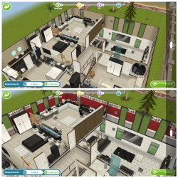 I went back to view this house a second time and the wallpaper changed on me to some creepy red wallpaper with people cutouts just like from the movie Us 🥺😰 : simsfreeplay