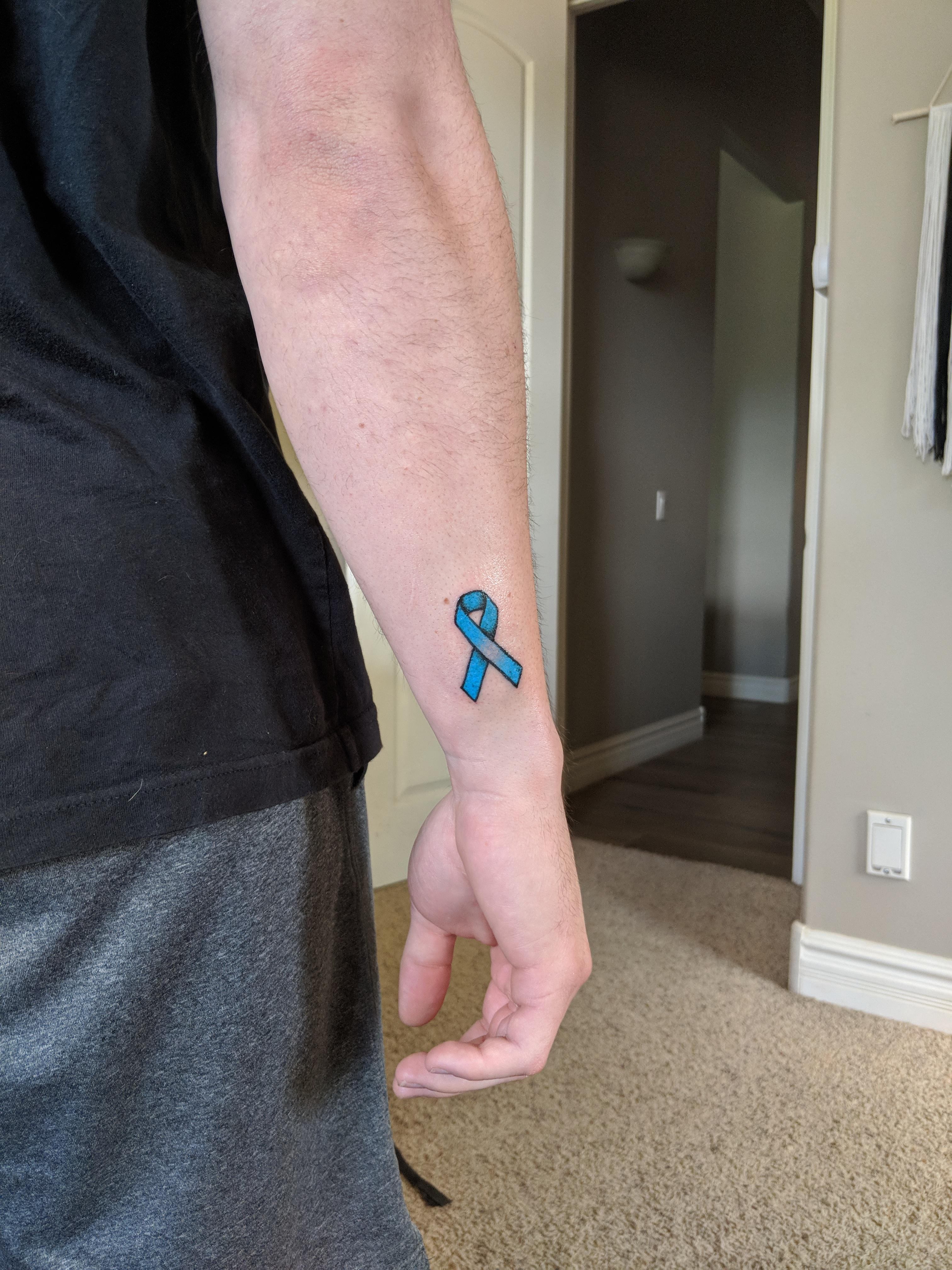 Prostate Cancer Ribbon Tattoo : prostate, cancer, ribbon, tattoo, Prostate, Cancer, Awareness, Ribbon, (Ryan, Boxcar,, Golden, Tattoo, Phoenix,, Tattoos