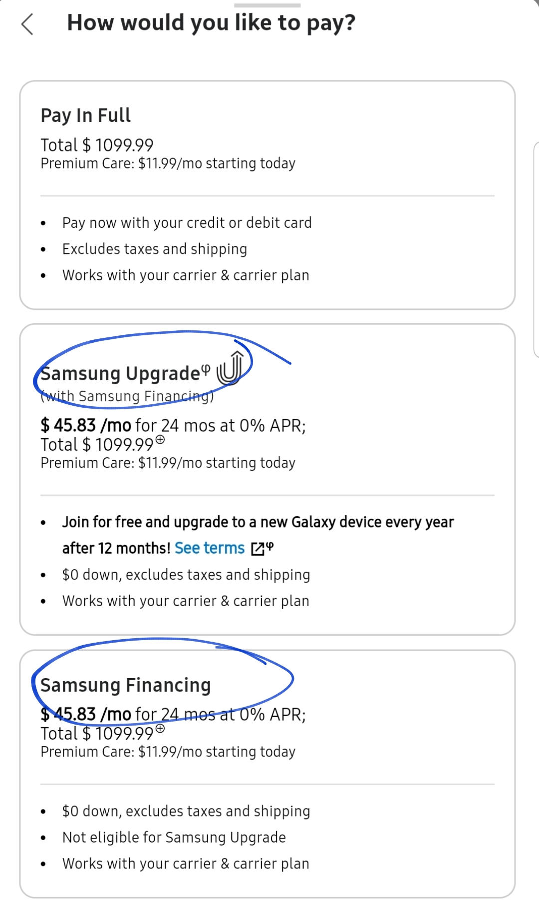 Pay Samsung Financing : samsung, financing, Anyone, Difference, Between, Upgrade, Financing, Options?, Offer, Terms, Except, Samsung