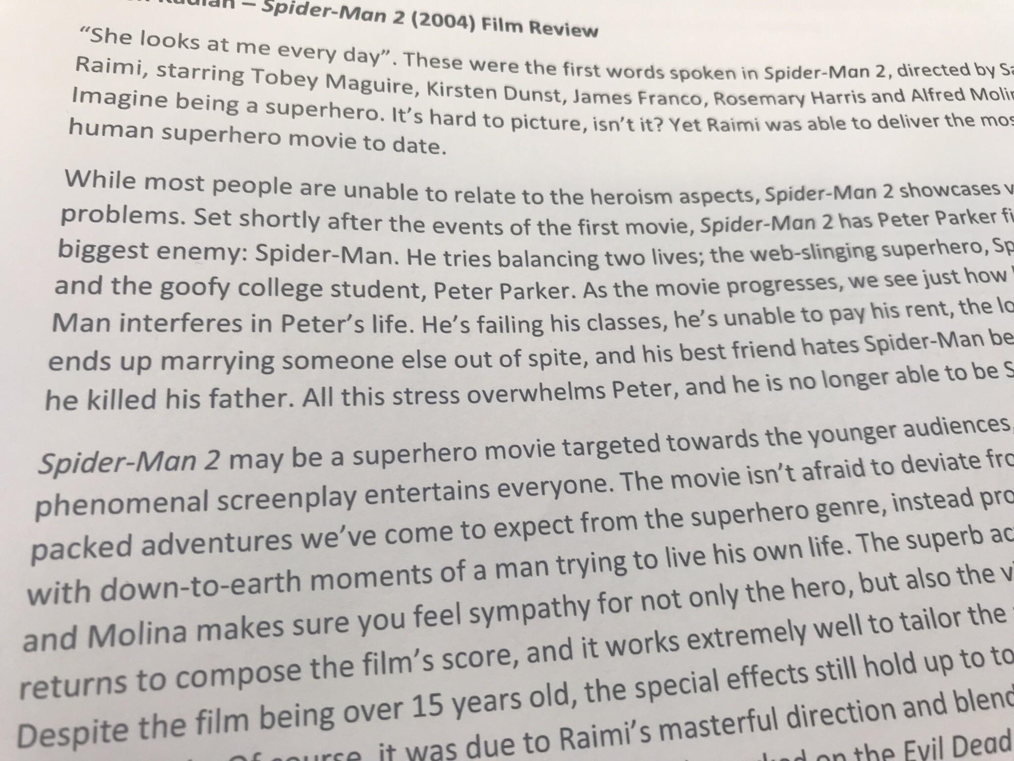 Movie Film Review In English