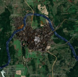 TEST MAP] Ytrac city : watabou Medieval Fantasy City blended with edited Google map image : imaginarymaps