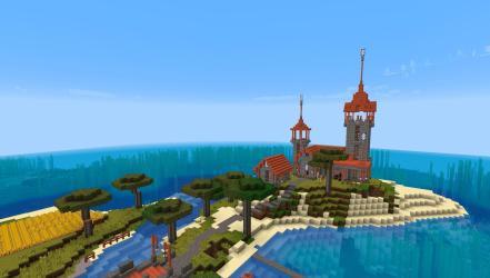 My survival house Right next to a cute little savanna village : Minecraft