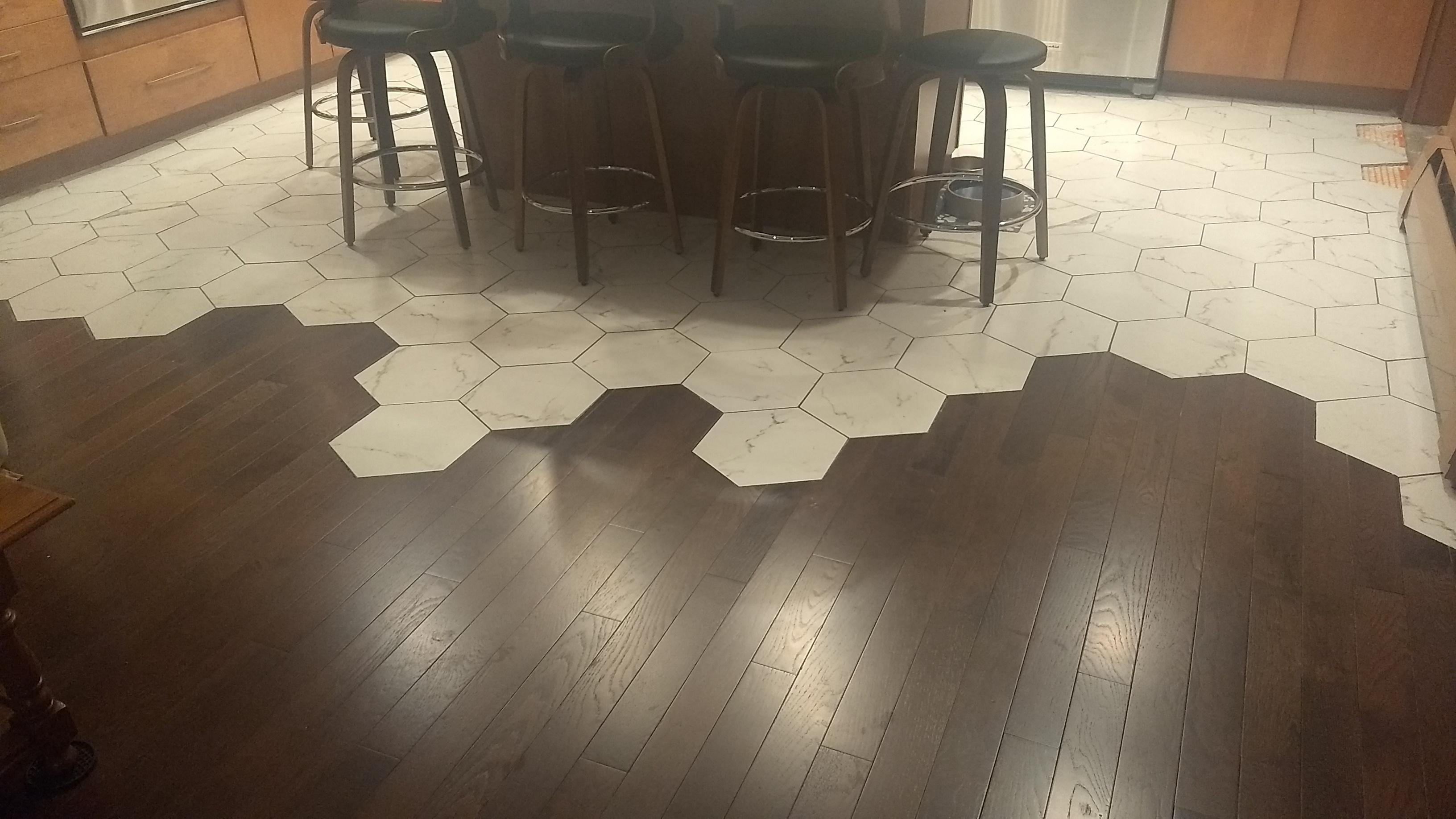 hexagonal tile transition kitchen