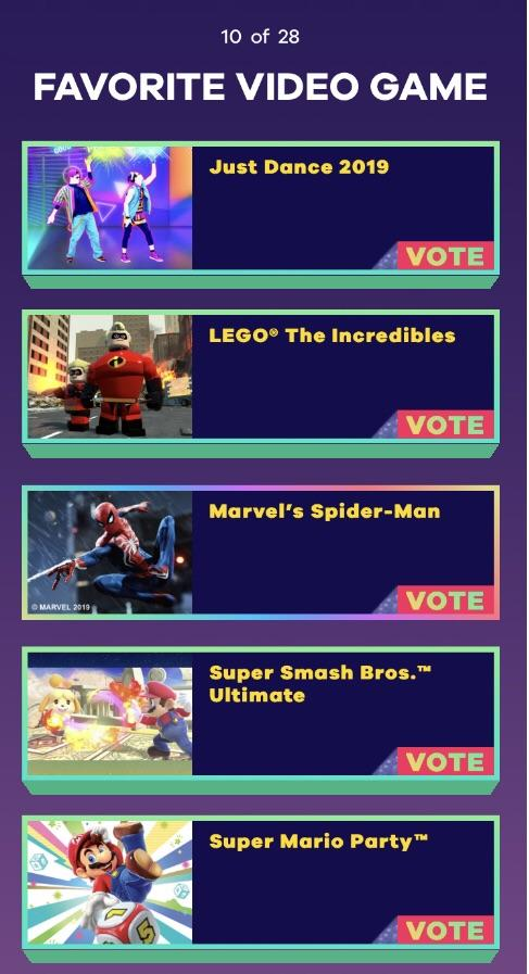 "2019 Kids Choice Awards Voting : choice, awards, voting, Nominated, ""Favorite, Video, Game"", Choice, Awards, SpidermanPS4"