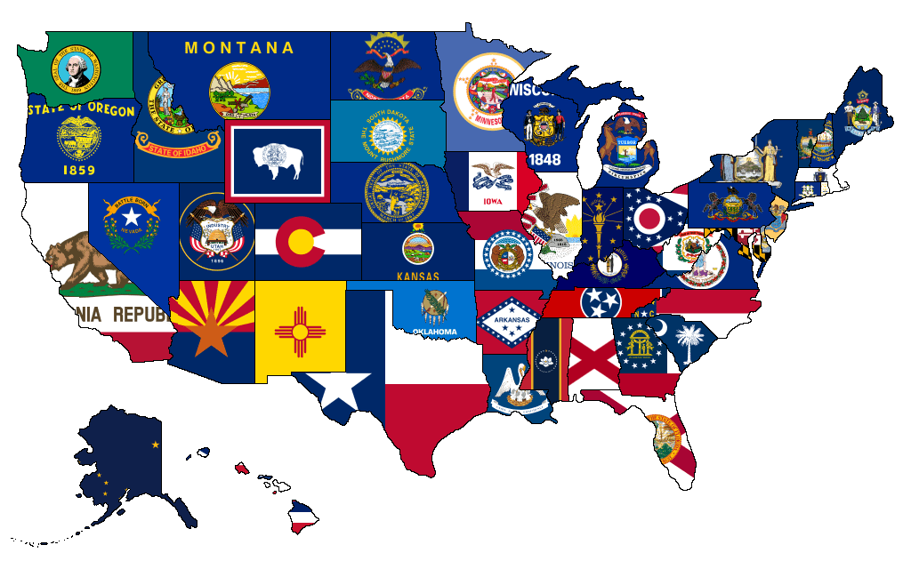 Vector image of the outline map of the united states with american flag. Flag Map Of Us States Mapporn