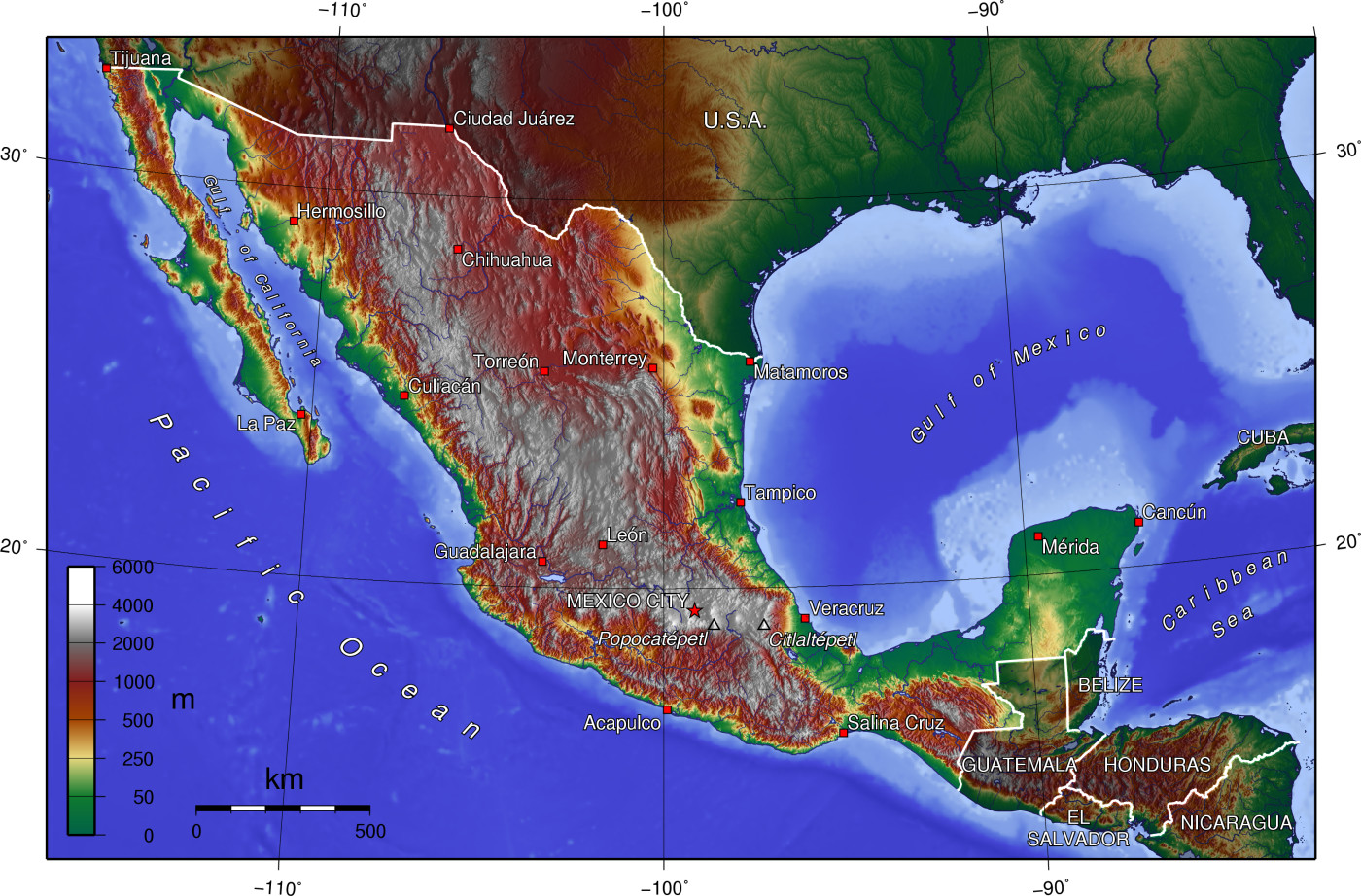 Elevation Map Of Mexico X 922 Map