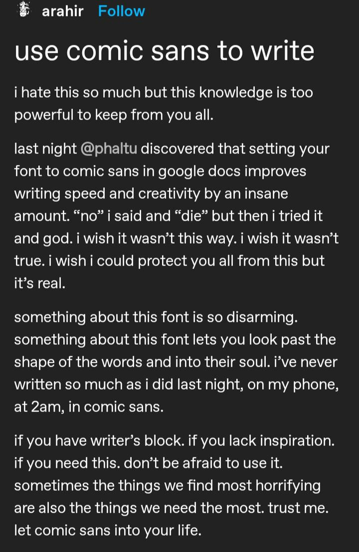dark mode screenshot of a tumblr post about writing using the comic sans font, image for creativity tips for writers blog post