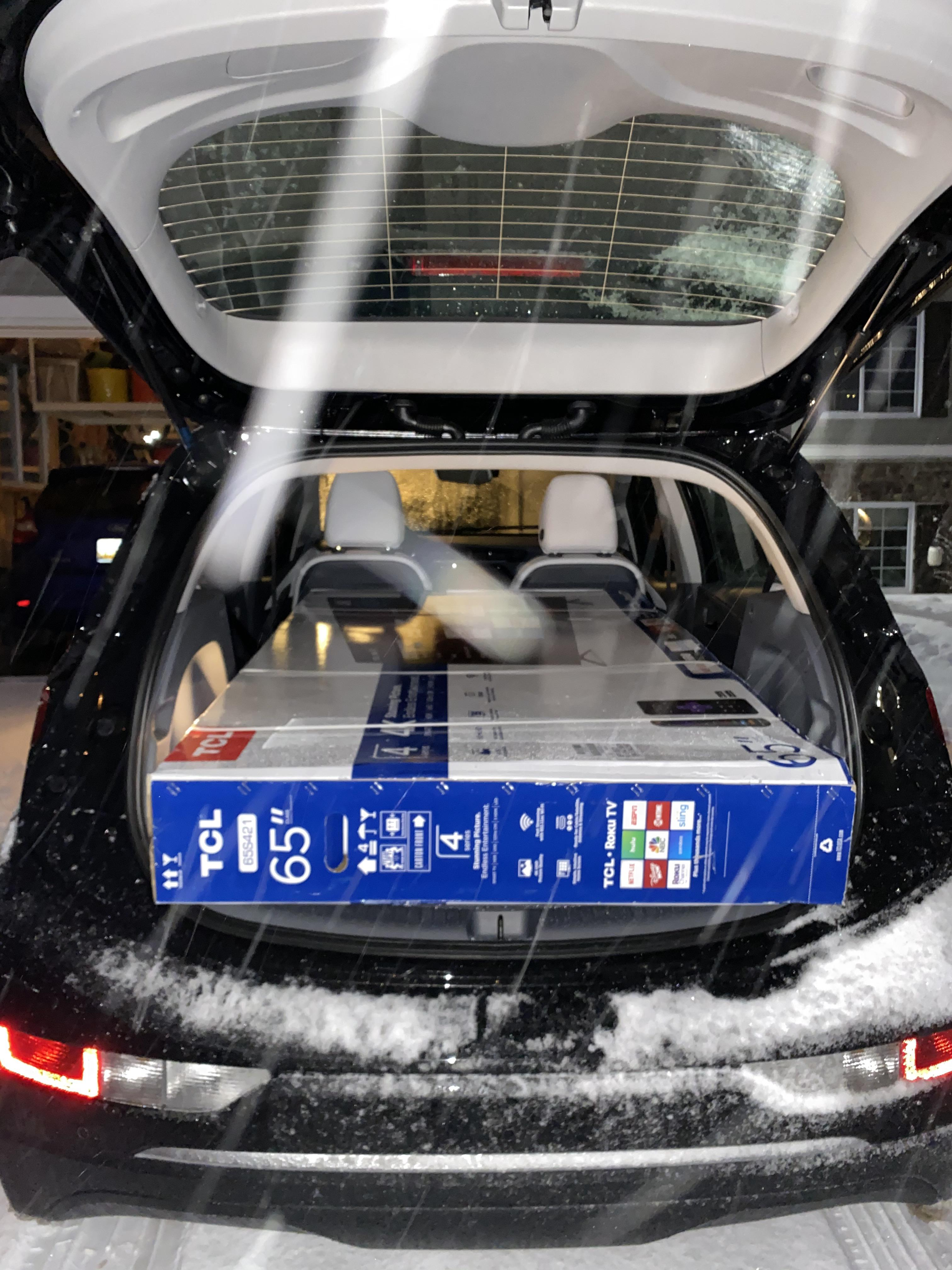 """Will A 65 Tv Fit In A Car : Confirmed-, 65"""", Successfully, Transported, Home., Hatch, Didn't, Completely, Shut,, Bungee, Worked, Perfect, Drive., BoltEV"""
