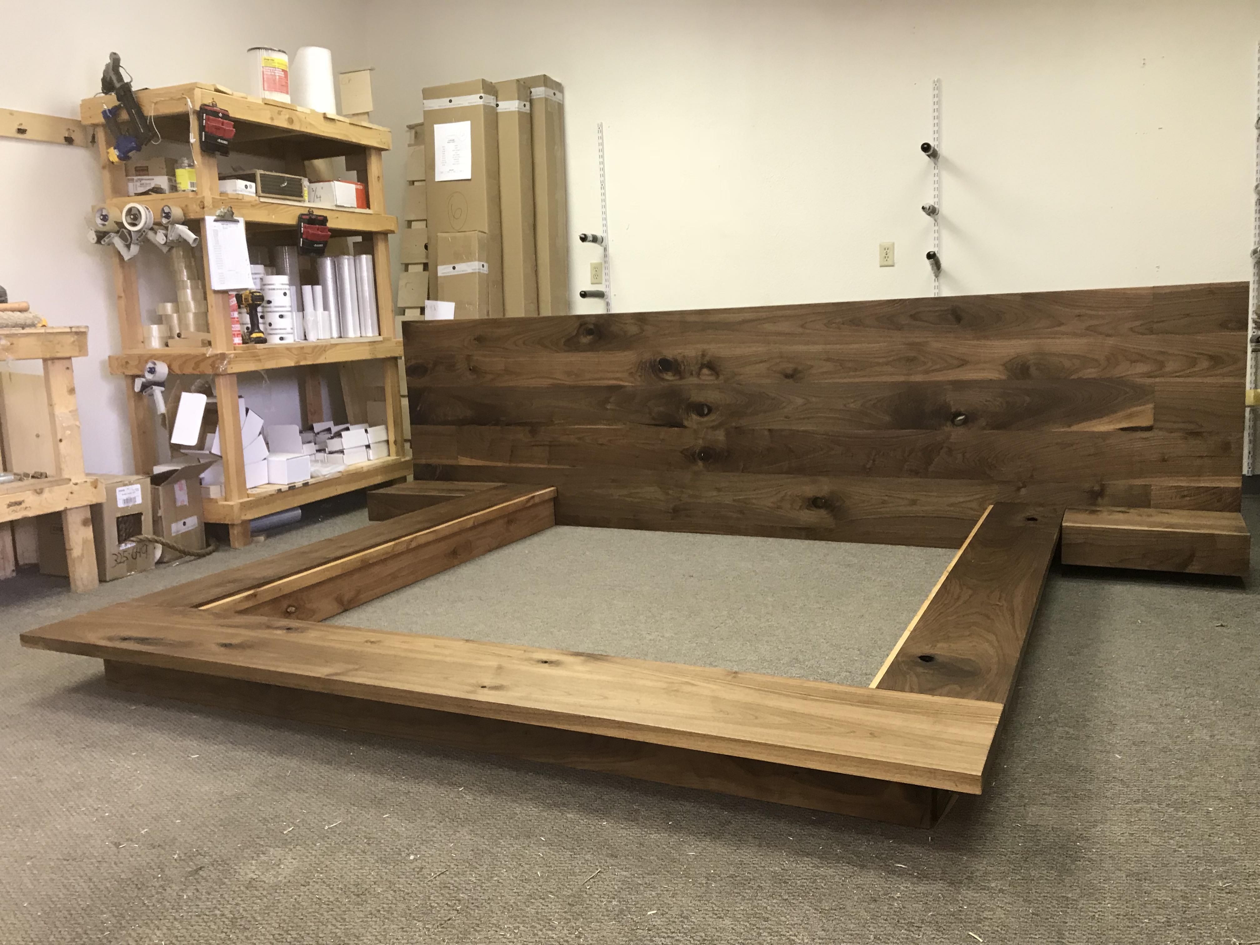 Floating Platform Bed Frame With Single Drawer Floating