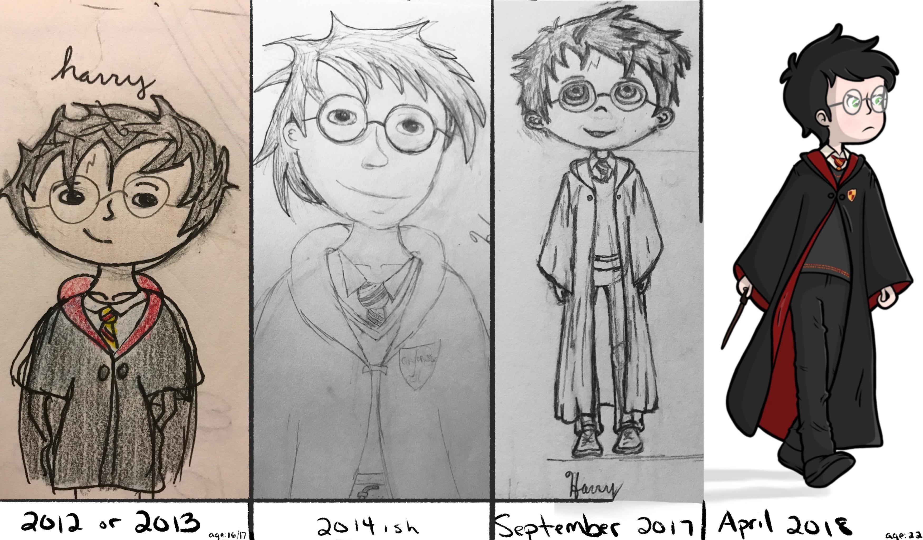 Harry Potter Drawing Progress Over The Past 5 Years