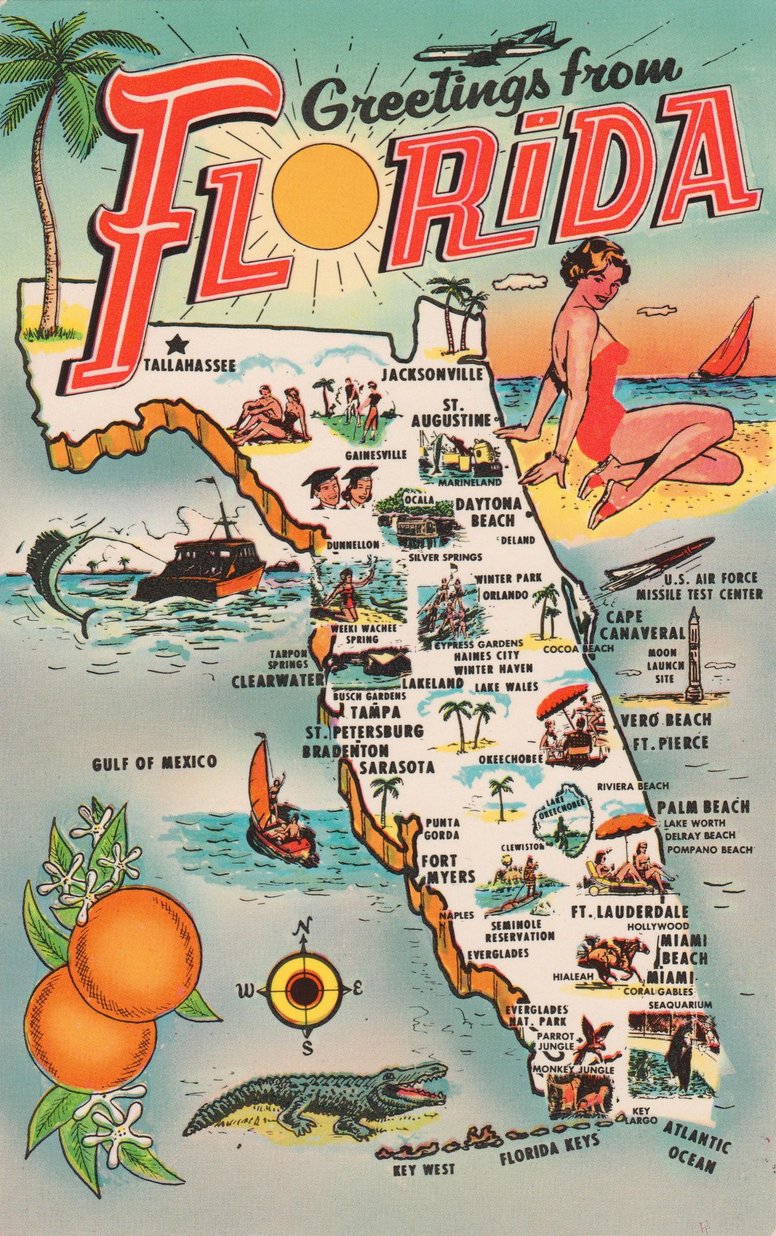 Old Florida Tourism Map Map