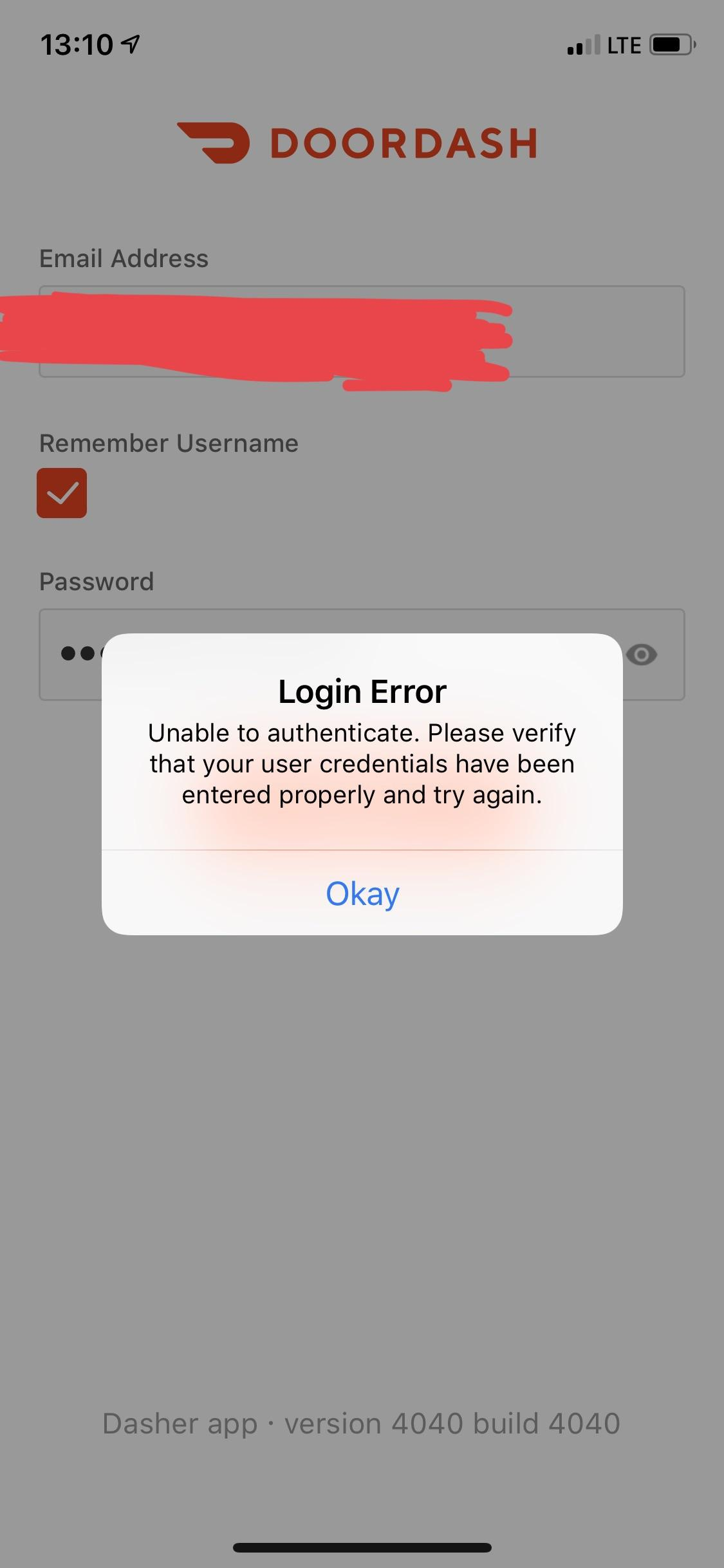 Login problem. 3rd day in a row. sometimes it lets me login for some time. then this again : doordash