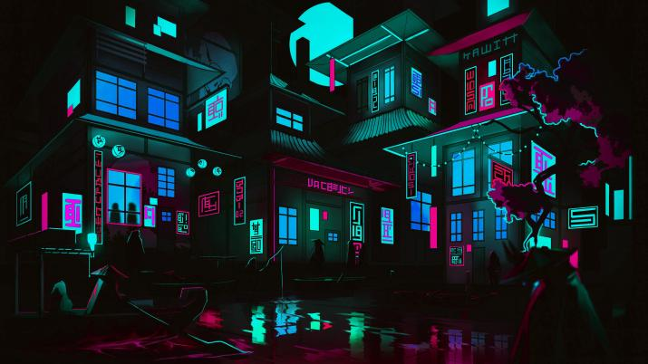 """Re-color of """"The Neon Shallows"""" by LEIKOI [5120×2880]"""