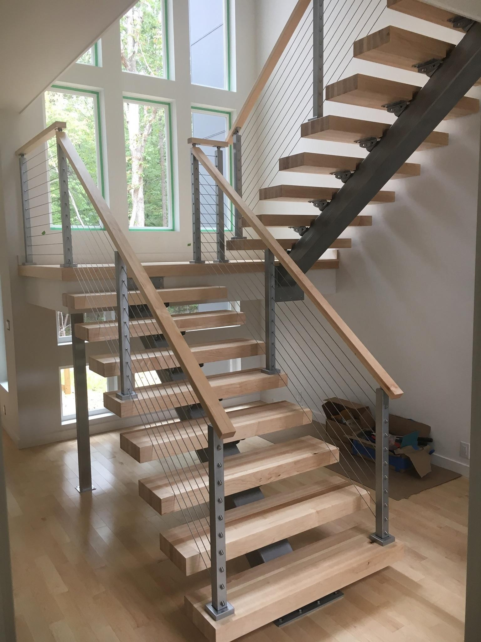 """Mono Stringer We Stair With 3"""" Solid Maple Treads And Cable 