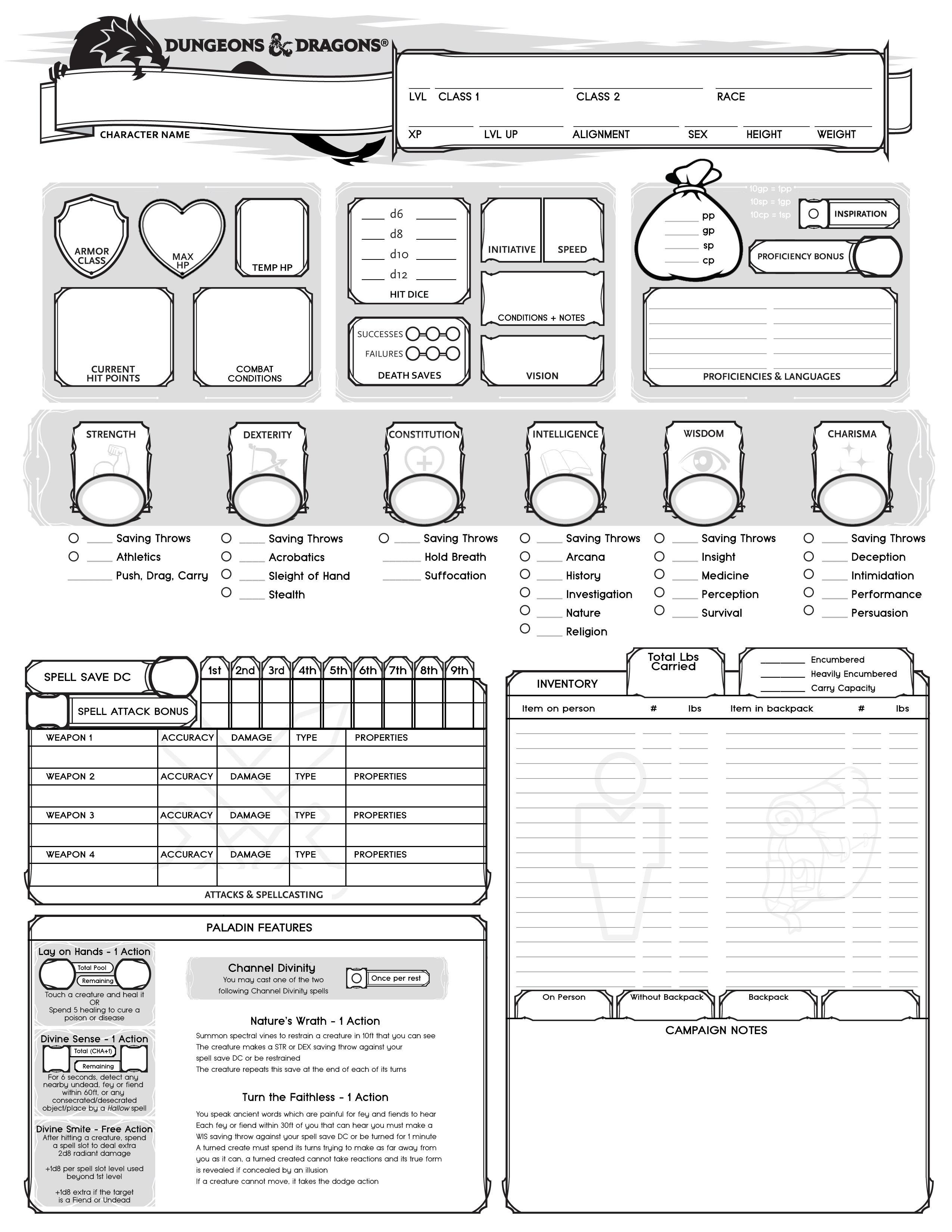 [OC] I made a custom 5e Character sheet for the paladin in
