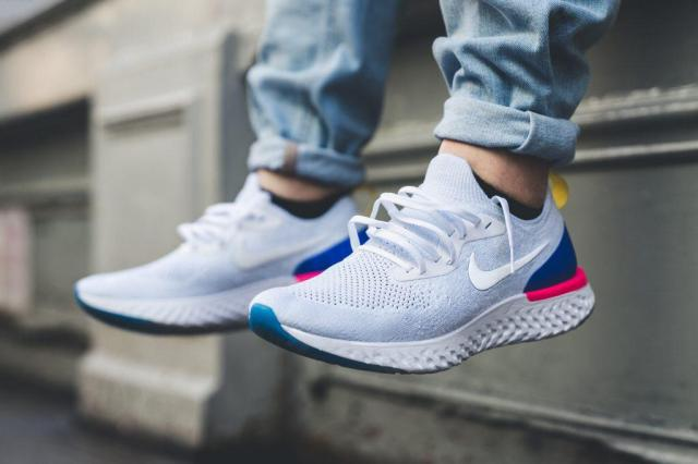 nike epic react multi-color on feet. Best athleisure sneakers