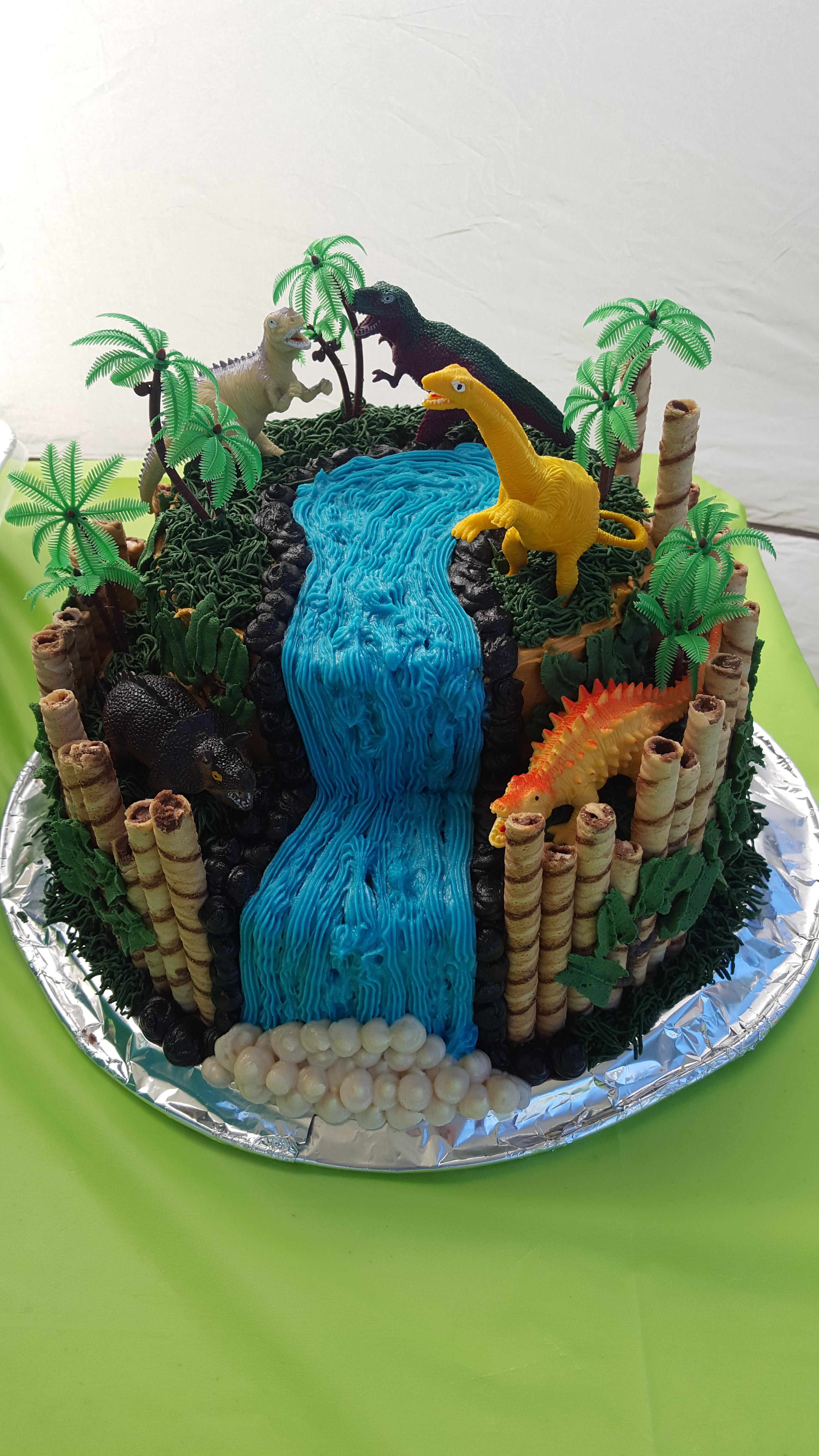 My Sons Bday Cake Today He Wanted A Dino Theme Borrowed Idea