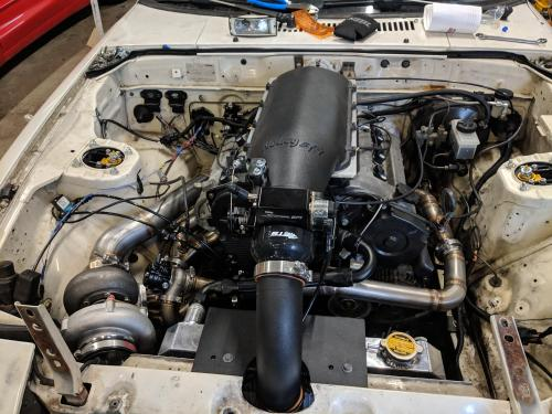 small resolution of heres a weird combo mazda 2 5l v6 with an ls1 intake manifold and 62mm turbo in a 1985 rx7 using a miata transmission stock rear end motec ecu and aem
