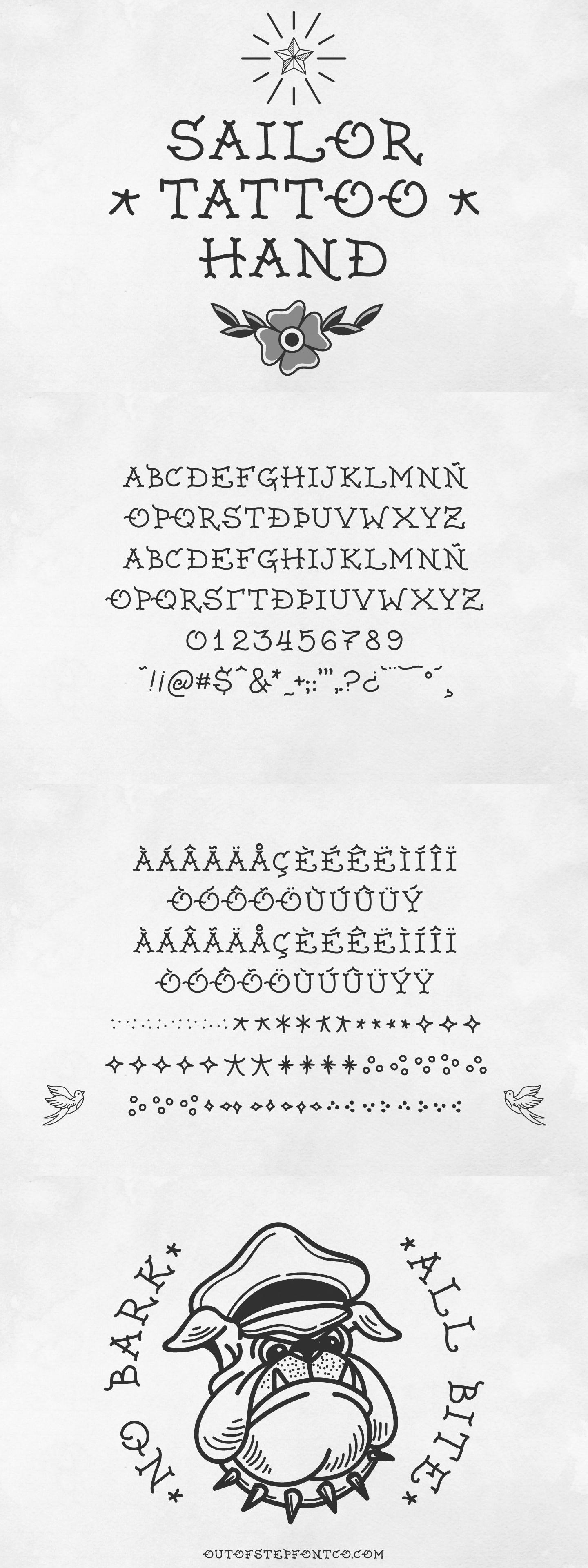 Traditional Tattoo Text : traditional, tattoo, Sailor, Tattoo, Brand, School, Traditional, Fonts
