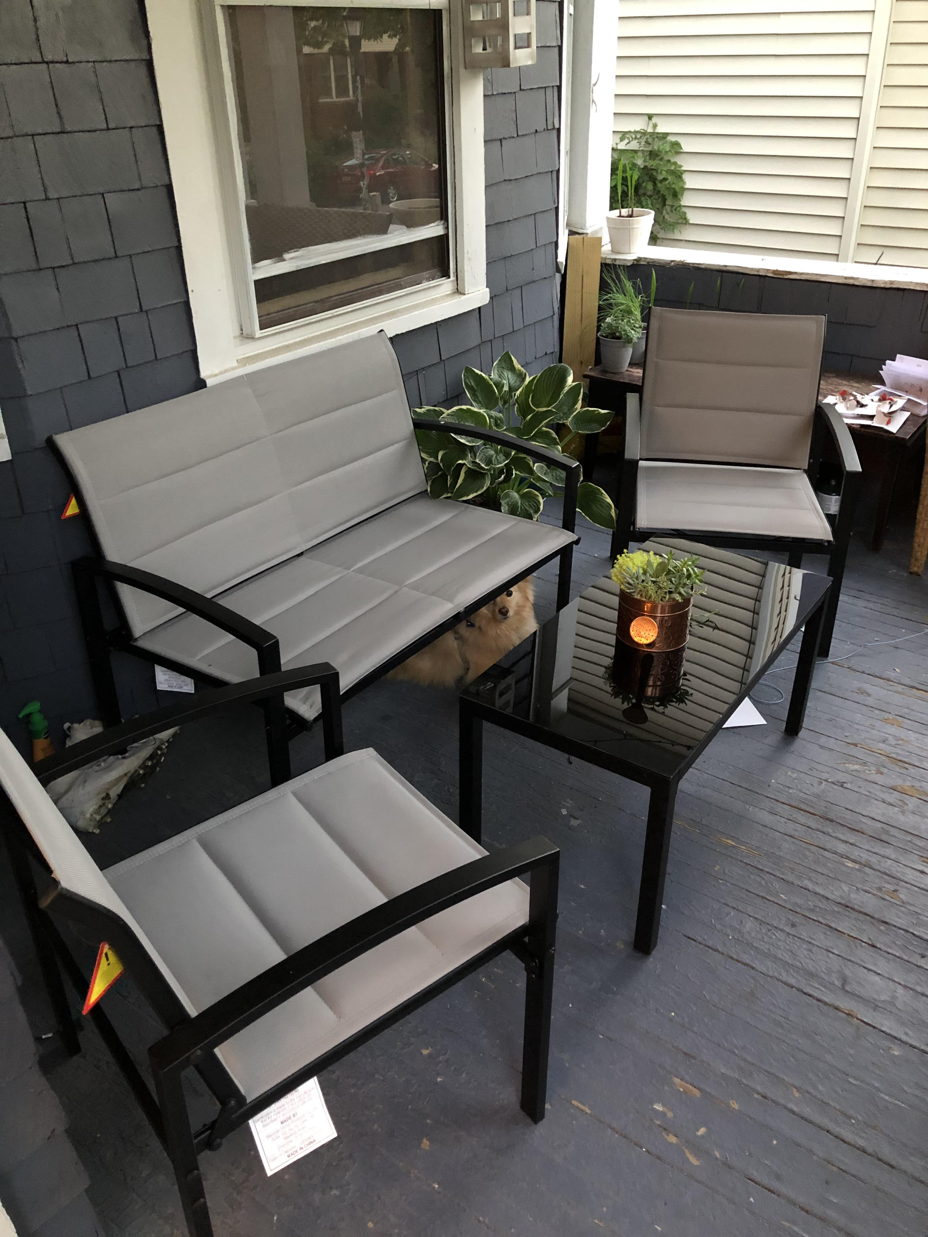 got our aldi patio set all done puppy