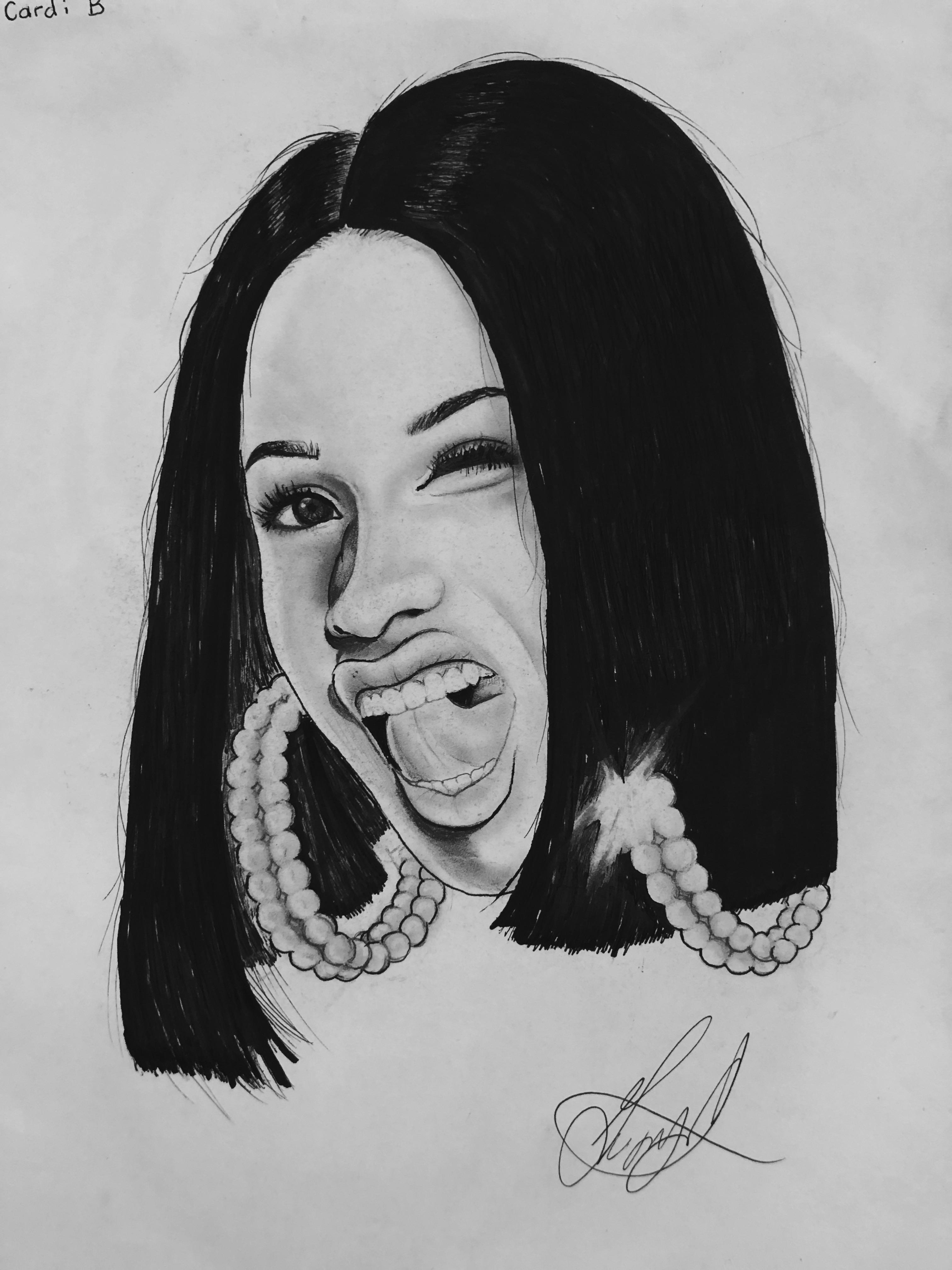 Cardi B Drawing : cardi, drawing, Cardi, Portrait, Regular, Pencil,, Sharpie, Drawing
