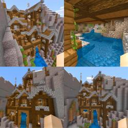 Decided to build this cozy mountain village built into a cliff side : : Minecraft