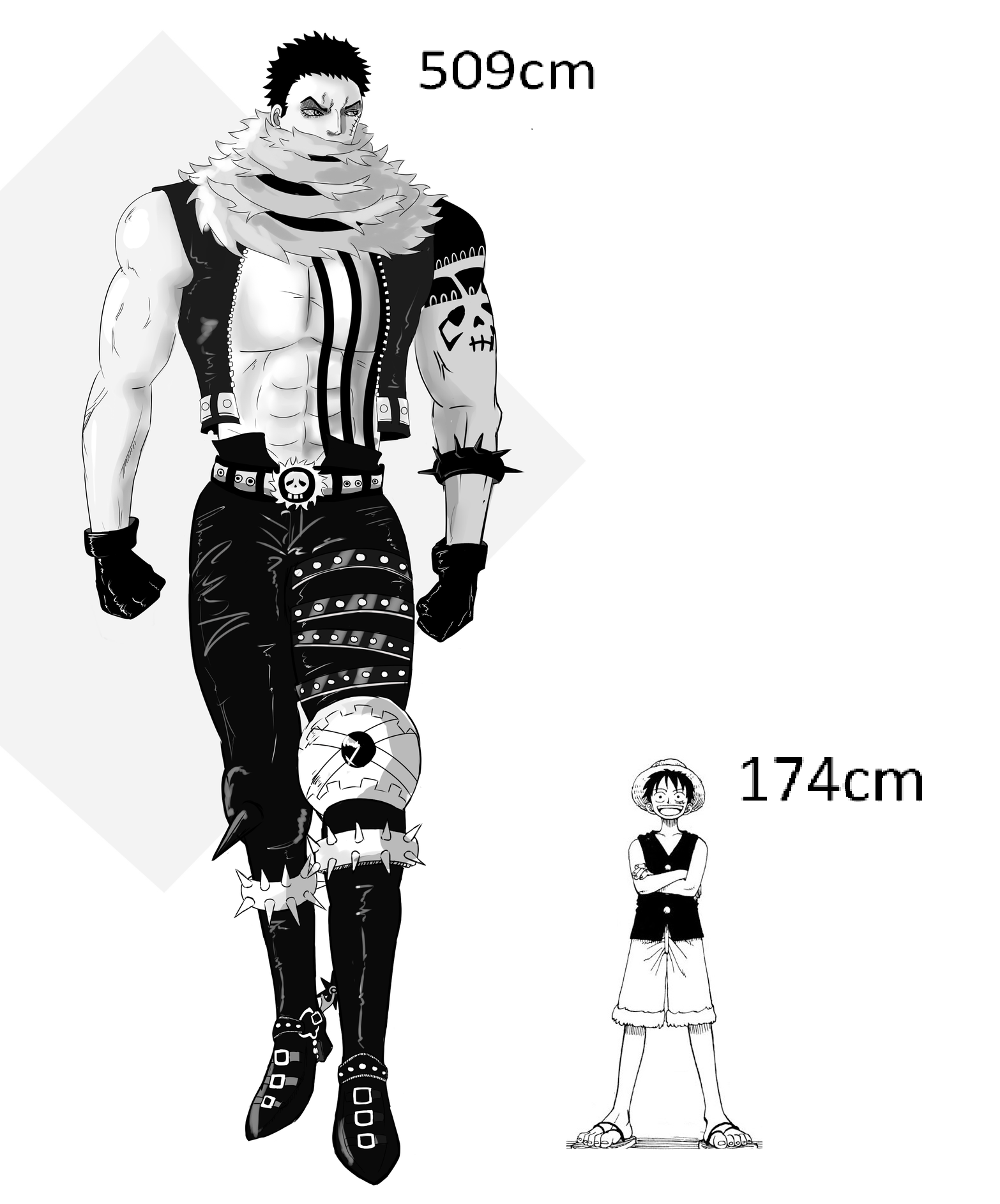 height difference between luffy and his current opponent