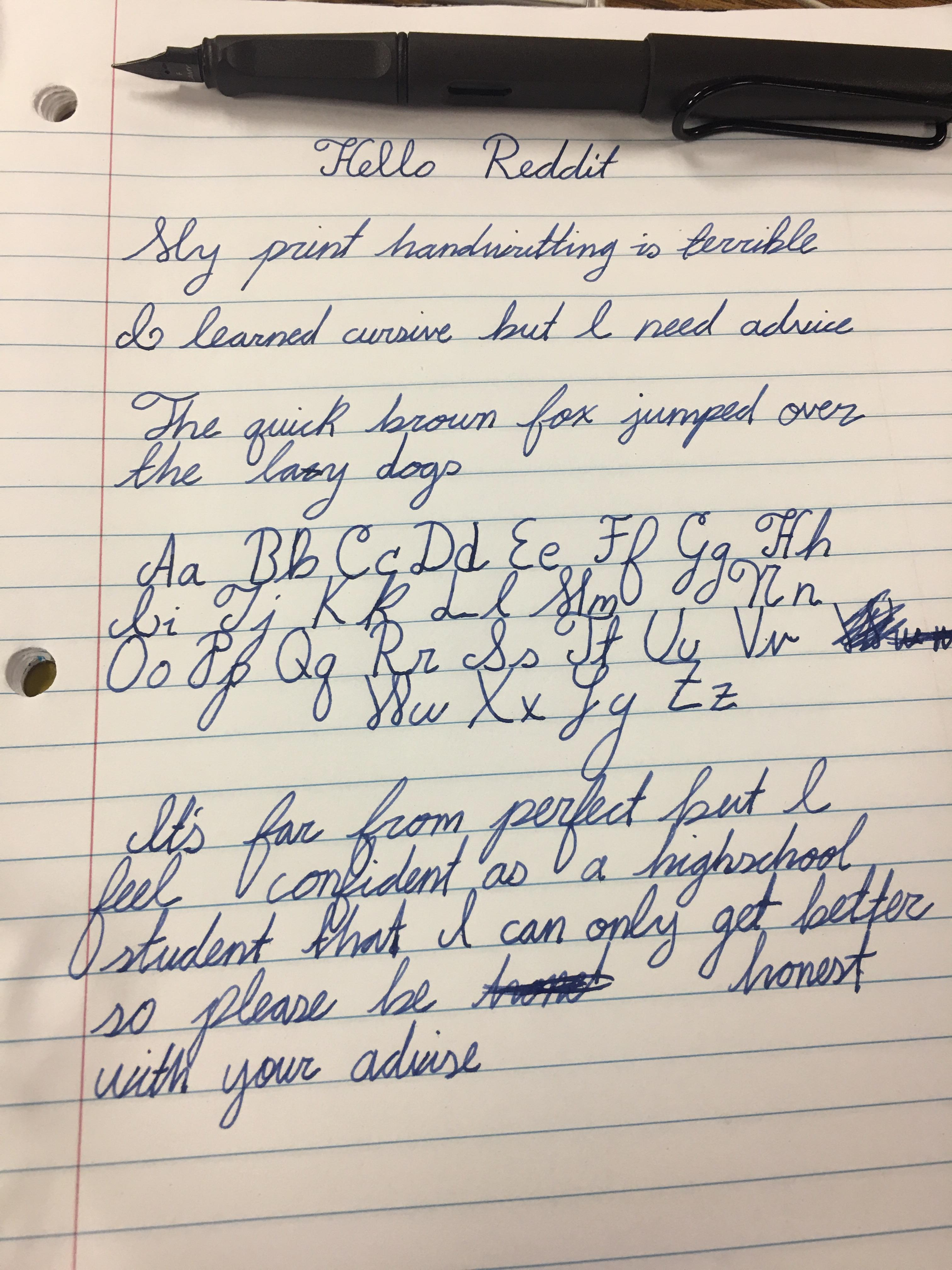 Please Give Me Advice Or Criticism To Improve My Cursive Handwriting Handwriting