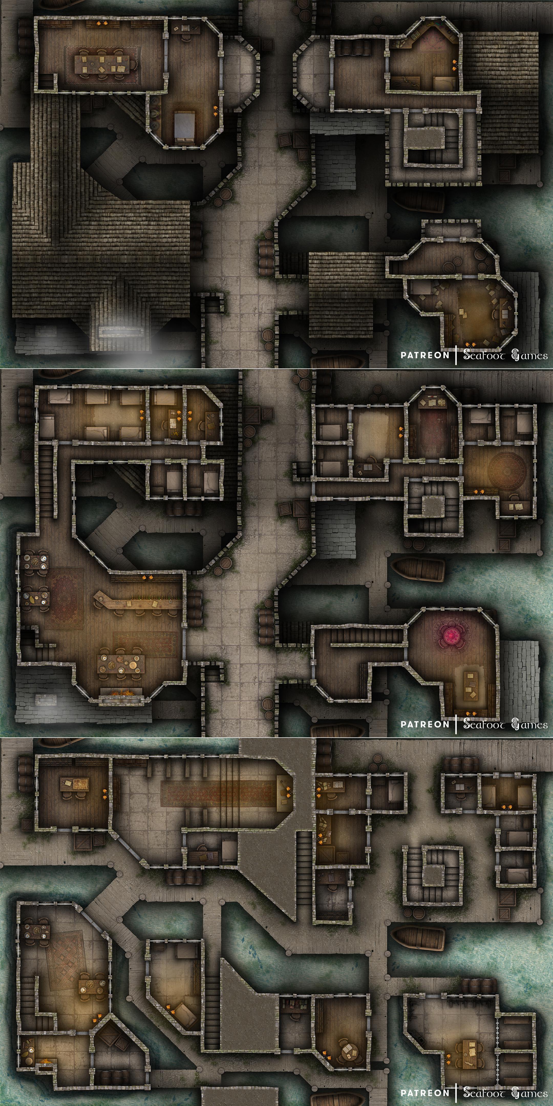 City Battle Map : battle, Saltspray, 30x20, Multi-Level, Battlemap!, Roll20