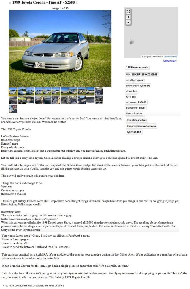 Greatest Craigslist Ad of All Time: funny